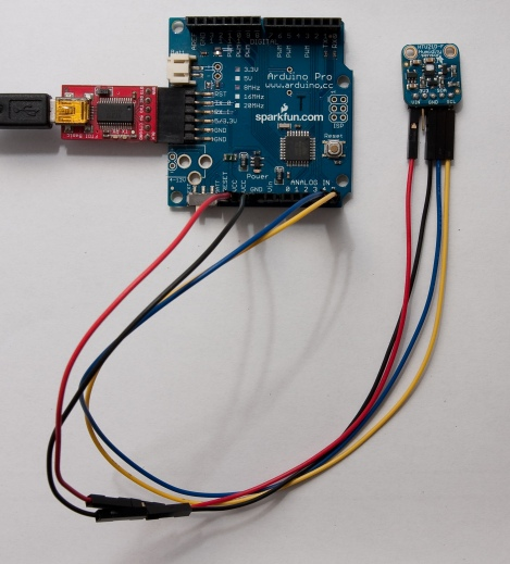 HTU21D connections to interface the sensor to an Arduino