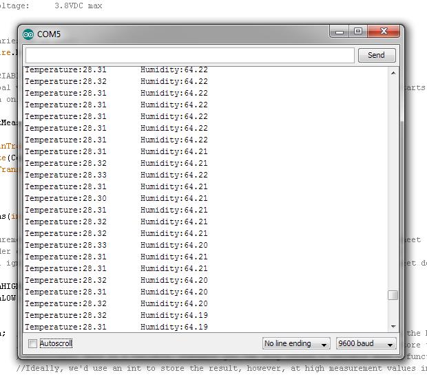 HTU21D output to a serial terminal