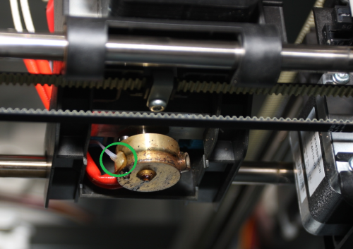 Da Vinci 1.0 extruder thermistor shown in green
