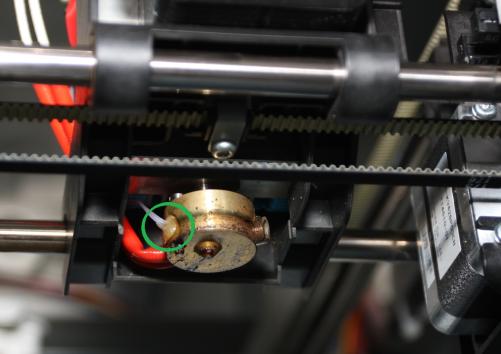 Da Vinci 1.0 extruder thermistor shown in green