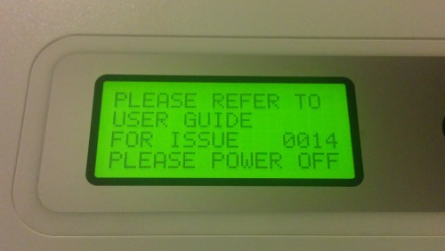 Da Vinci Fault Code 0014 - Extruder overtemperature