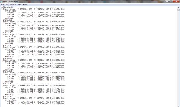 ASCII stl file