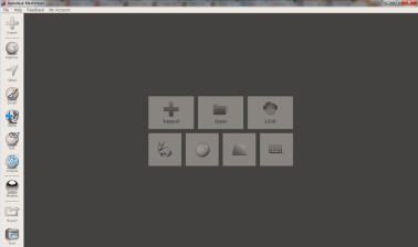 Meshmixer start screen. Click Import
