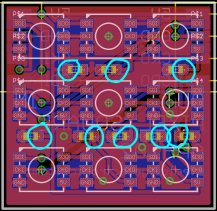 Each capacitor has moved towards the pad circled in blue