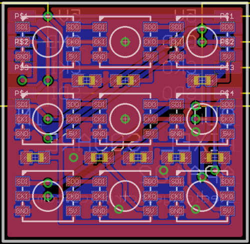 PCB layout for APA102C LEDs