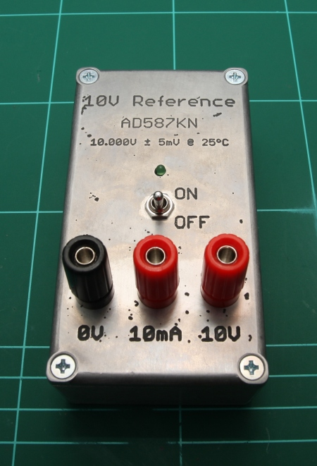 Completed AD587 battery powered 10V reference.
