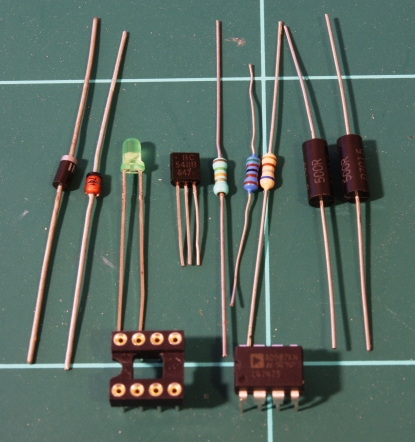 Electronics components required. (Note that 2x 500R 0.01% resistors are shown on the right)