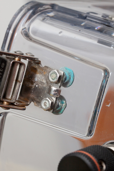 Corrosion build up on the buckle retaining hardware